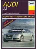 Audi А8 (Ауди А8). Руководство по ремонту, инструкция по эксплуатации. Модели с 2002 по 2010 год выпуска, оборудованные бензиновыми и дизельными двигателями