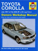 Toyota Corolla (Тойота Королла). Руководство по ремонту, инструкция по эксплуатации. Модели с 1997 по 2002 год выпуска, оборудованные бензиновыми двигателями