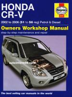 Honda CR-V (Хонда СРВ). Руководство по ремонту, инструкция по эксплуатации. Модели с 2002 по 2006 год выпуска, оборудованные бензиновыми и дизельными двигателями