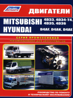 Двигатели Mitsubishi (Мицубиси) 4D33 / 4D34-T4 / 4D35 / 4D36, Hyundai (Хундай) D4AF / D4AK / D4AE. Устройство, руководство по ремонту, техническое обслуживание