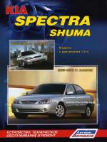 Kia Spectra / Shuma (Киа Спектра/Шума). Руководство по ремонту, инструкция по эксплуатации. Модели с 2001 по 2009 год выпуска, оборудованные бензиновыми двигателями