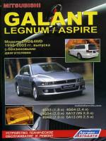 Mitsubishi Galant / Legnum / Aspire (Мицубиси Галант / Легнум / Эспайр). Руководство по ремонту, инструкция по эксплуатации. Модели с 1996 по 2003 год выпуска, оборудованные бензиновыми двигателями