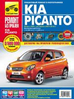 Kia Picanto (Киа Пиканто). Руководство по ремонту в цветных фотографиях, инструкция по эксплуатации. Модели с 2004 года выпуска (+рестайлинг с 2007), оборудованные бензиновыми двигателями.