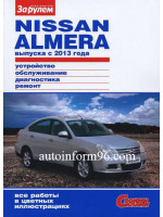 Nissan Almera (Ниссан Альмера). Руководство по ремонту, инструкция по эксплуатации в цветных фотографиях. Модели с 2013 года выпуска, оборудованные бензиновыми двигателями