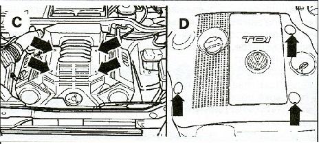 Элементы крепления декоративной крышки двигателя VW Passat B5 рис.2
