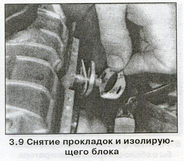 Снятие прокладок изолирующего блока  Volvo 440-460-480