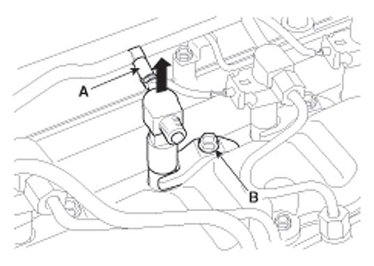 Откручивание болта крепления топливопровода Hyundai i30