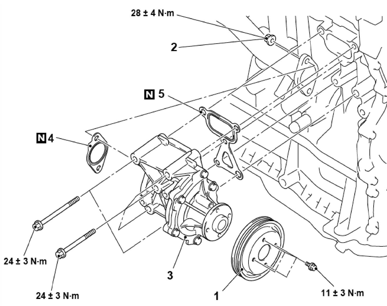 Схема водяного насоса Mitsubishi Outlander