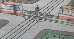 перекрёсток трамвайных путей