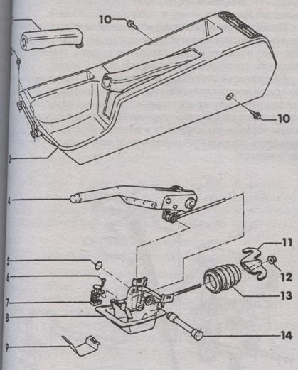 рычаг привода стояночного тормоза Audi 100, рычаг привода стояночного тормоза Audi A6