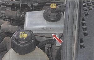 бачек с тормозной жидкостью в автомобиле Renault Sandero