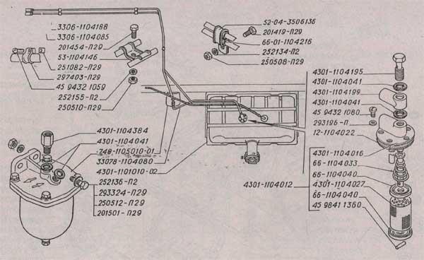 фланец приёмной трубки с фильтром ГАЗ 3309