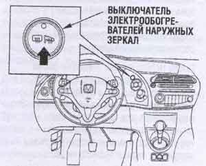 электрообогрев зеркал Honda Civic 5D