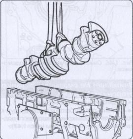 извлечение коленчатого вала из корпуса двигателя Scania Р