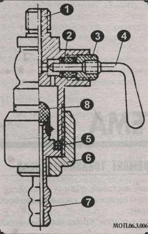 топливный кран мопедов разрез