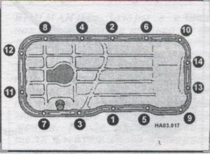 крепления масляного картера Nissan Almera