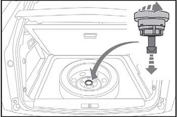 Укладка колеса на место Peugeot 3008