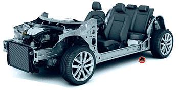 Приклад уніфікованої платформи кузова з елементами шасі й двигуном
