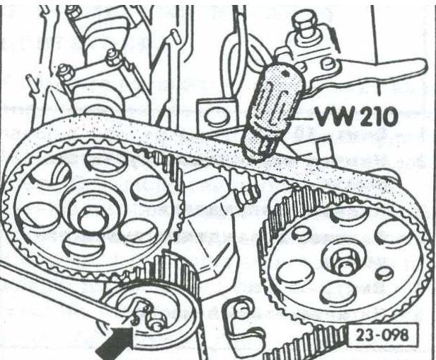 Проверка натяжения зубчатого ремня VW Passat, регулировка натяжения зубчатого ремня VW Passat