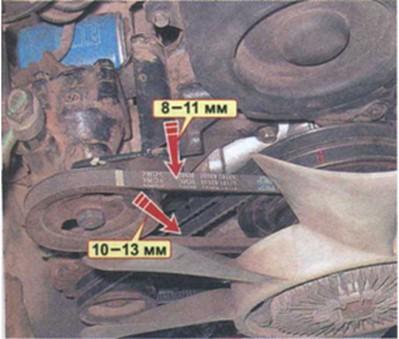 проверка натяжения ремней Hyundai Porter H100