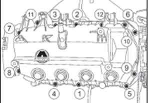 последовательность затяжки болтов Renault Sandero, последовательность затяжки болтов Dacia Sandero, последовательность затяжки болтов  Sandero Stepway