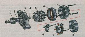 детали генератора ВАЗ 2115