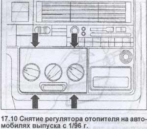 снятие регулятора отопителя Volkswagen Transporter, снятие регулятора отопителя Volkswagen Caravelle