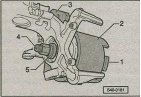 выпрессовка подшипника колеса со ступицей колеса Skoda Fabia