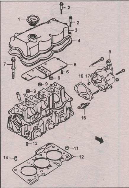 головка цилиндров двигателя Daewoo Tico